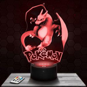 Lampe 3D Dracaufeu Pokémon avec socle au choix !