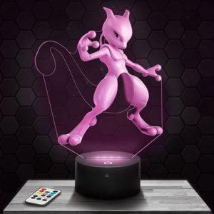Lampe 3D Mewtwo Pokémon avec socle au choix !