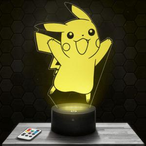 Lampe 3D Pikachu Pokémon avec socle au choix !
