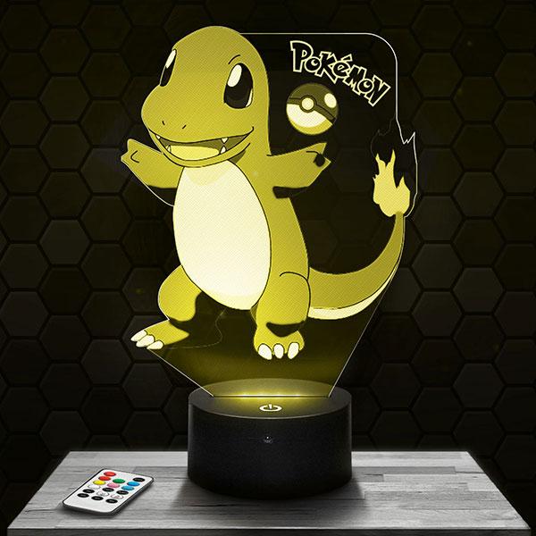 Lampe 3D Salamèche Pokémon avec socle au choix !
