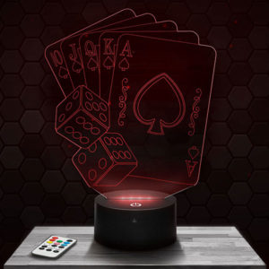 Lampe 3D Poker avec socle au choix !