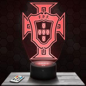 Lampe 3D Logo Portugal FPF avec socle au choix !