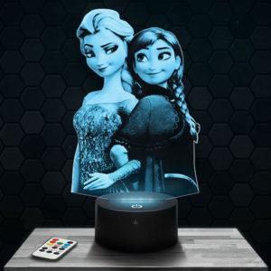Lampe 3D Reine des Neiges - Elsa et Anna avec socle au choix !