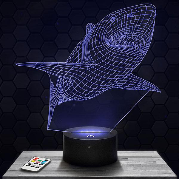Lampe 3D Requin avec socle au choix !