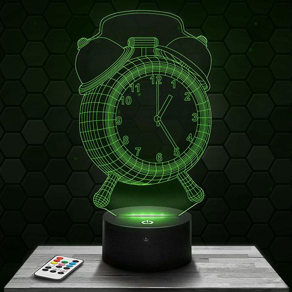 Lampe 3D Réveil Matin avec socle au choix !