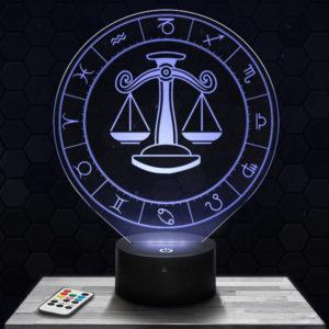 Lampe 3D Signe Astrologique - Balance avec socle au choix !