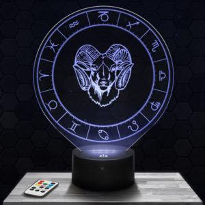Lampe 3D Signe Astrologique - Bélier avec socle au choix !