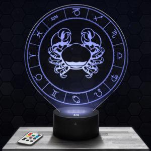 Lampe 3D Signe Astrologique - Cancer avec socle au choix !