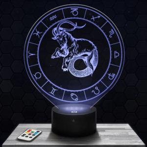 Lampe 3D Signe Astrologique - Capricorne avec socle au choix !