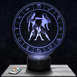 Lampe 3D Signe Astrologique - Gémeaux avec socle au choix !
