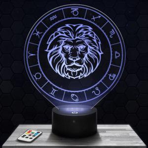 Lampe 3D Signe Astrologique - Lion avec socle au choix !