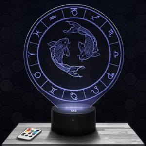 Lampe 3D Signe Astrologique - Poissons avec socle au choix !