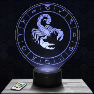 Lampe 3D Signe Astrologique - Scorpion avec socle au choix !