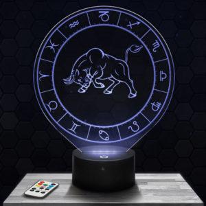 Lampe 3D Signe Astrologique - Taureau avec socle au choix !