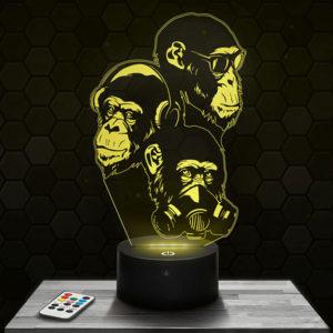 Lampe 3D Singe Sagesse Stylisé avec socle au choix !