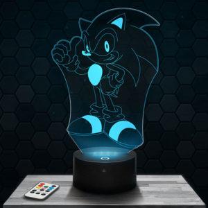 Lampe 3D Sonic avec socle au choix !