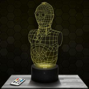 Lampe 3D Star Wars C3PO/6PO avec socle au choix !