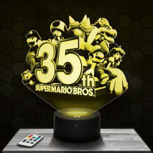 Lampe 3D Super Mario Bros 35ème anniversaire avec socle au choix !