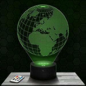 Lampe 3D Terre avec socle au choix!